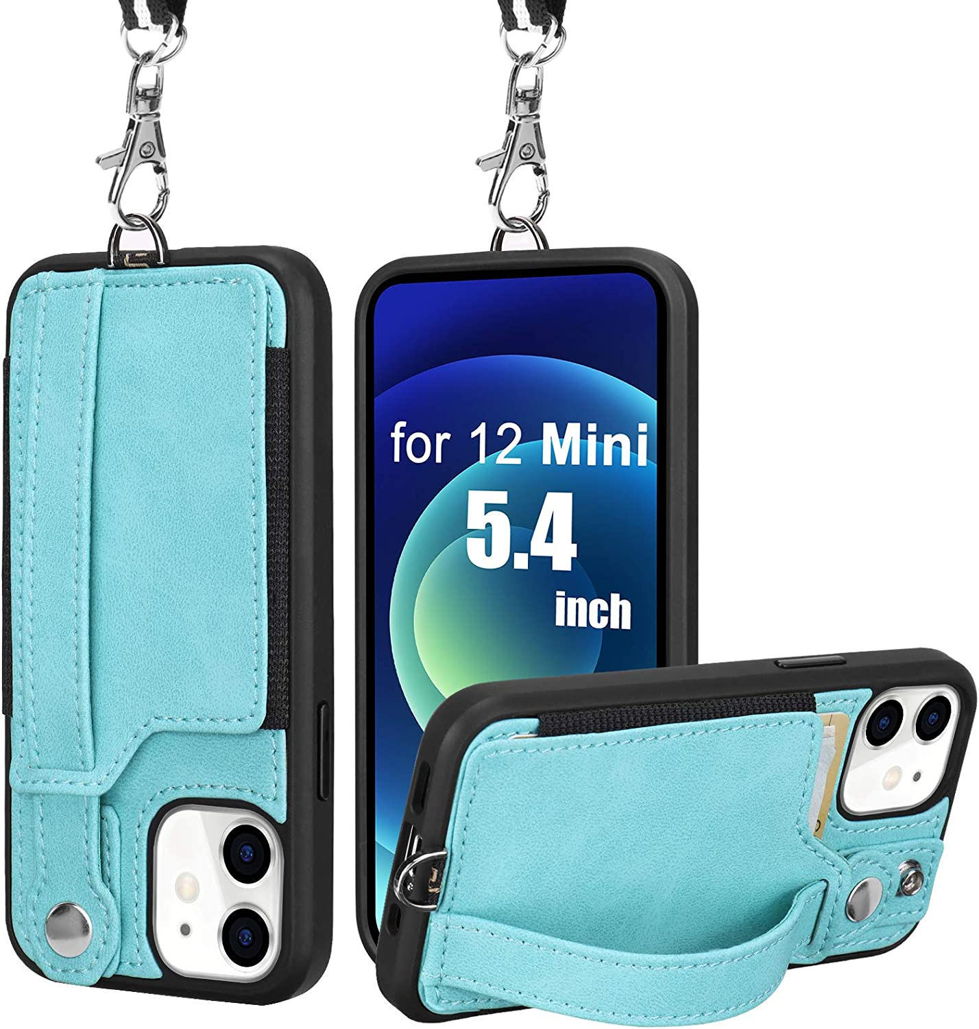 TOOVREN Compatible with iPhone 12 Mini Case, Phone Case Wallet Protective Case with Leather PU Stand Card Holder Adjustable Detachable Strap Lanyard Card Case for 12 Mini 5.4 Inch 2020 Green