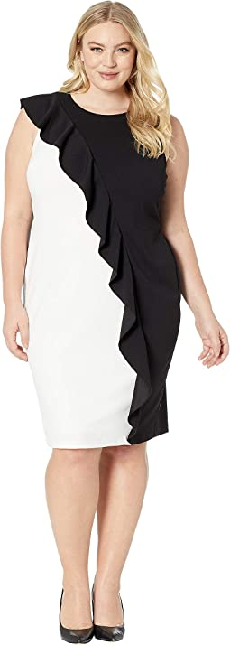 Plus Size Color Blocked Knit Crepe Sheath Dress