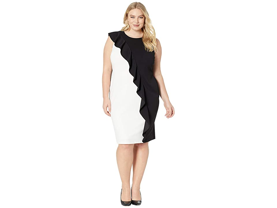 Adrianna Papell Plus Size Color Blocked Knit Crepe Sheath Dress (Black/Ivory) Women