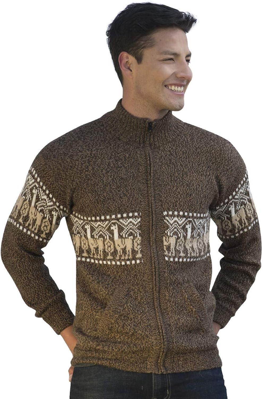 2e5d5b96 Gamboa - 100% Alpaca - Cardigan Cardigan Cardigan with Zipper - Men - Brown  with Llamitas d637ac