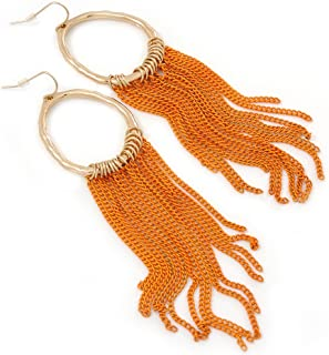 Gold Plated Hoop Earrings With Orange Chains - 12cm Length