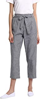 BESIVA Women's Gingham Check Belted Cotton Trouser