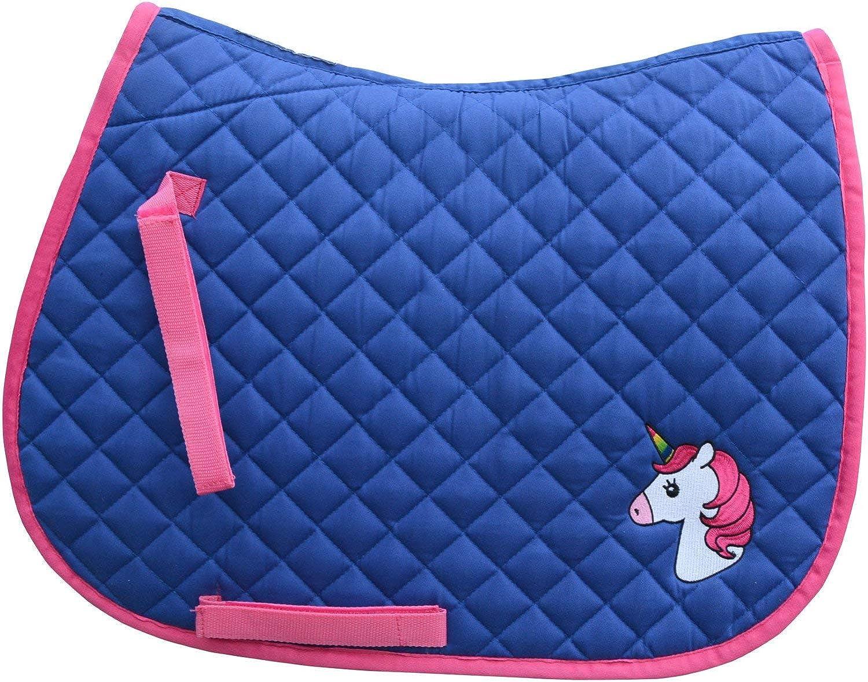 Derby House Unicorn Pony Saddle Pad Full Size Dazzling bluee Fandango Pink