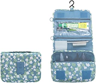 New Hanging Toiletry Bag Bathroom Organizer Travel Nylon Portable Cosmetic Bag for Women and Men (Blue White Flower)