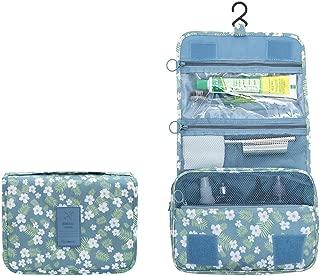 New Hanging Toiletry Bag Bathroom Organizer Travel Nylon Portable Cosmetic Bag for Women and Men (Blue White Flower)