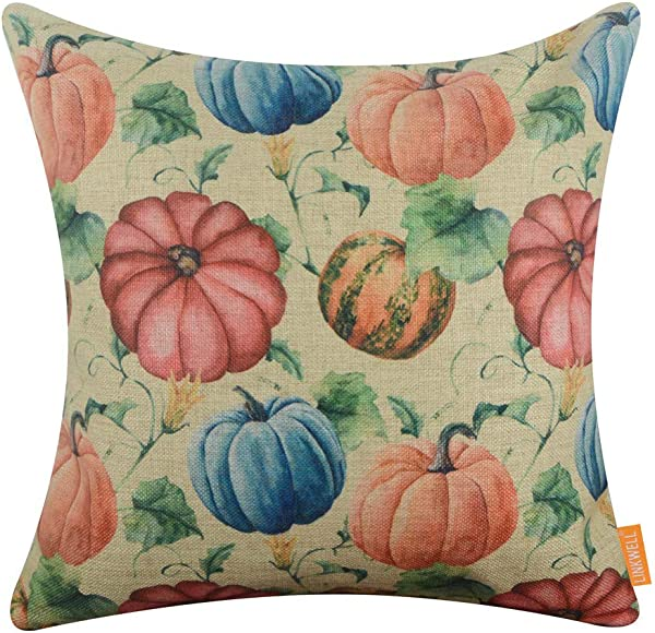 LINKWELL Square Throw Pillow Covers Decorative Cushion Case For Sofa Bedroom Car Couch 18 X 18 Inch Happy Fall Pumpkins CC1633