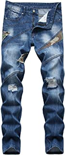 YOUTHUP Mens Biker Jeans Straight Leg Patchwork Denim Trousers All Waist Stretch Cargo Pants
