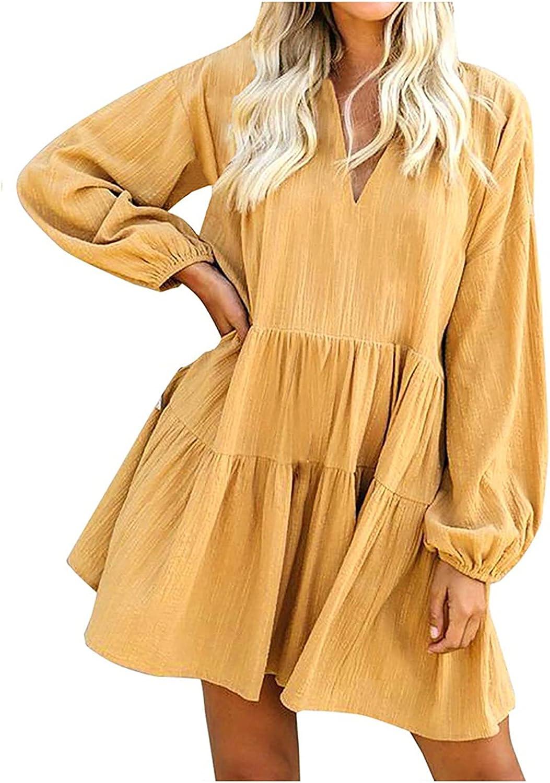 BIrty Women's Fashion Autumn Ruffle Sleeve Long Sleeve Solid Color Mini V-Neck Dress
