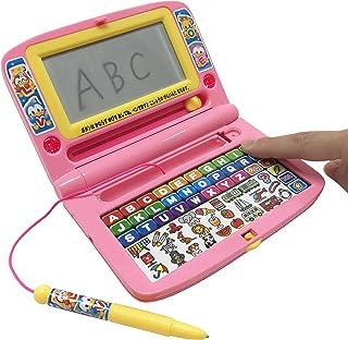 楽しくあそんdeABC ボタンを押すと声が出る 音が鳴る ライトが光る 字が書ける 書く押す聞く 子ども おもちゃ (ピンク)