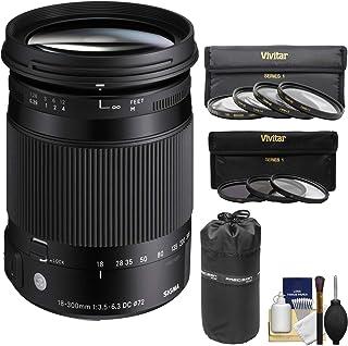 Sigma 18–300mm f / 3.5–6.3DCマクロOS HSM ContemporaryズームレンズFor Canon EOSカメラ) with 3UV/CPL / nd8フィルタ+マクロフィルタ+ポーチ+キットfor Canon EOS DSLRカメラ