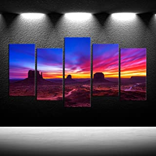 iKNOW FOTO Large 5 Pieces Canvas Prints Wall Art Dramatic Sunrise Over Monument Valley in Arizona USA Photography Giclee Printing Stretched and Framed Ready to Hang for Walls (Large 60x32inch)