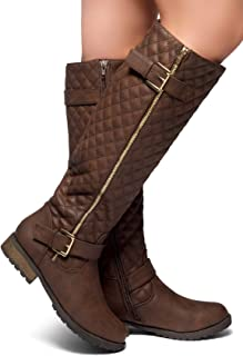 Herstyle Lorreenn-Hi Women's Quilted Leatherette Buckle Decor Round Toe Motorcycle Riding Knee-hi Boots