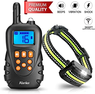 Dog Training Collar - Rechargeable Shock Collar for Dogs W/Beep Vibration & Humane Shock, 100% Waterproof Dog Shock Collar with Remote up to 2600Ft Range, 0~16 Shock Levels W/ 2-in- 1 Charger