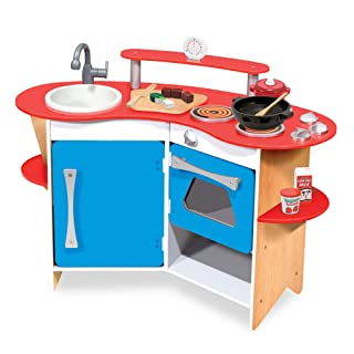 Melissa & Doug Cook's Corner Wooden Pretend Play Toy Kitchen (Great Gift for Girls and Boys - Best for 3, 4, and 5 Year Olds)