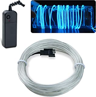 lychee EL Wire Neon Glowing Strobing Electroluminescent Light El Wire w/Battery Pack for Parties, Halloween Decoration (Ice Blue, 15ft)
