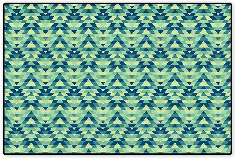 Geometric Floor Mat For Kids Abstract Zigzag Chevron Ethnic ...