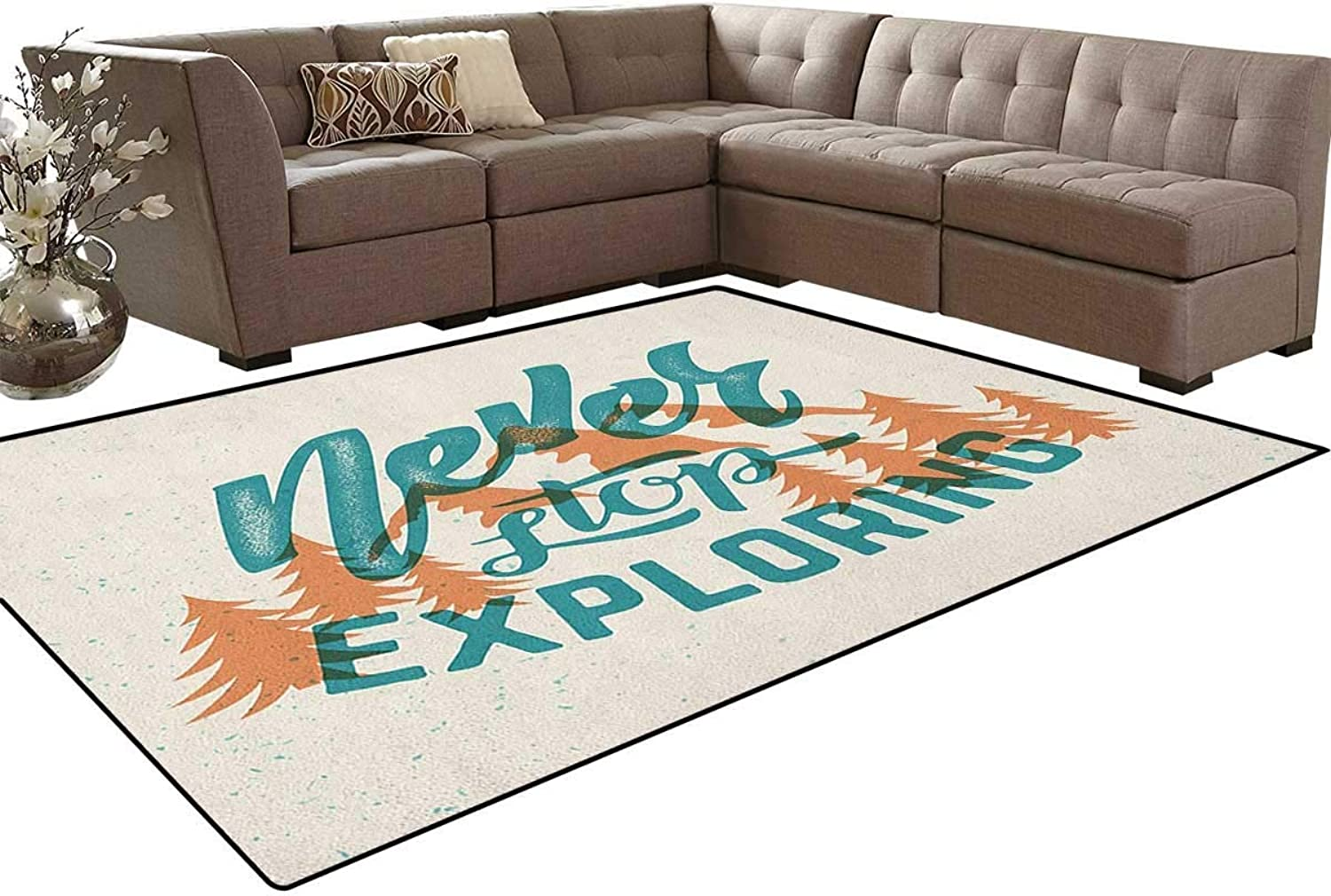 Hand Lettering Quote on Traveling with Mountain and Forest Silhouette Floor Mat Rug Indoor Front Door Kitchen and Living Room Bedroom Mats Rubber Non Slip
