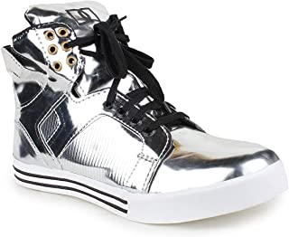 Gn Sons Men's Silver Patent Lace up Hip hop Casual Sneakers