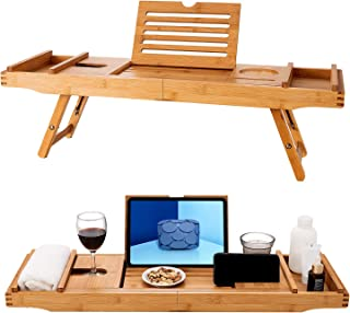 HBlife Bamboo Bathtub Caddy Tray with Extending Sides & Laptop Desk with Foldable Legs,Cellphone iPad Tray and Wineglass Holder,Free Soap Holder (Natural)