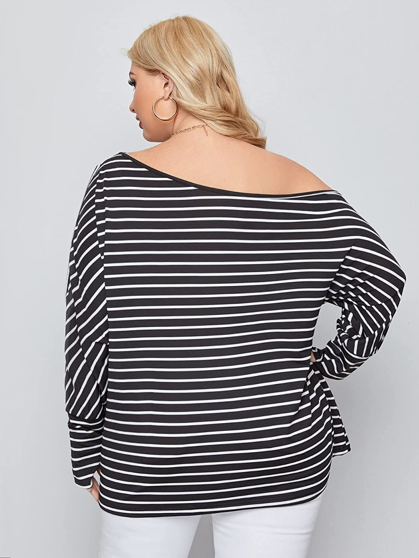 SheIn Women's Plus Striped Asymmetrical Neck Cut Out Tee Shirt Long Sleeve Tunic Top