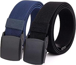 Hoanan 2-Pack Elastic Stretch Belt, Men's All Size No Metal Nylon Tactical Hiking Belt