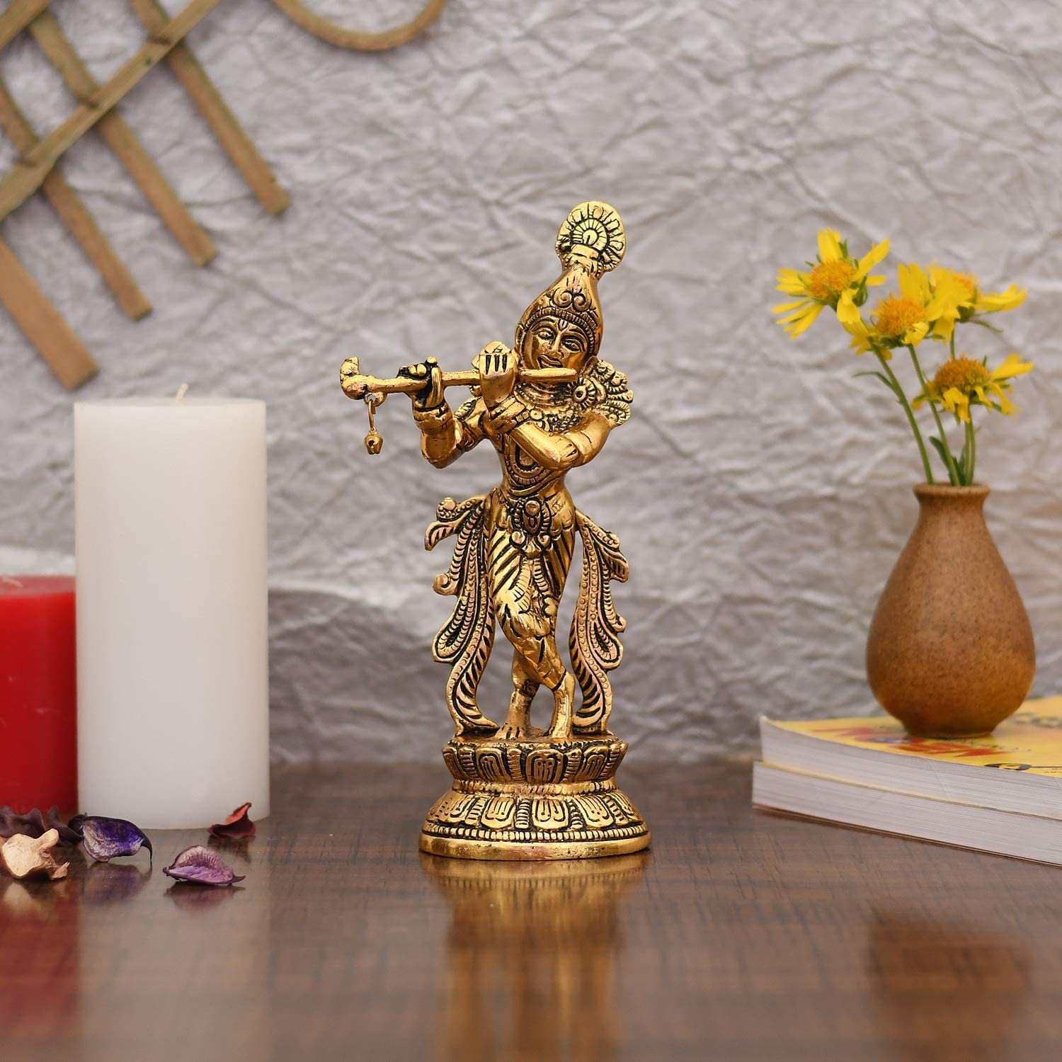 Collectible India Lord Krishna Manufacturer direct delivery Idol Idols Pl Gold quality assurance Statue