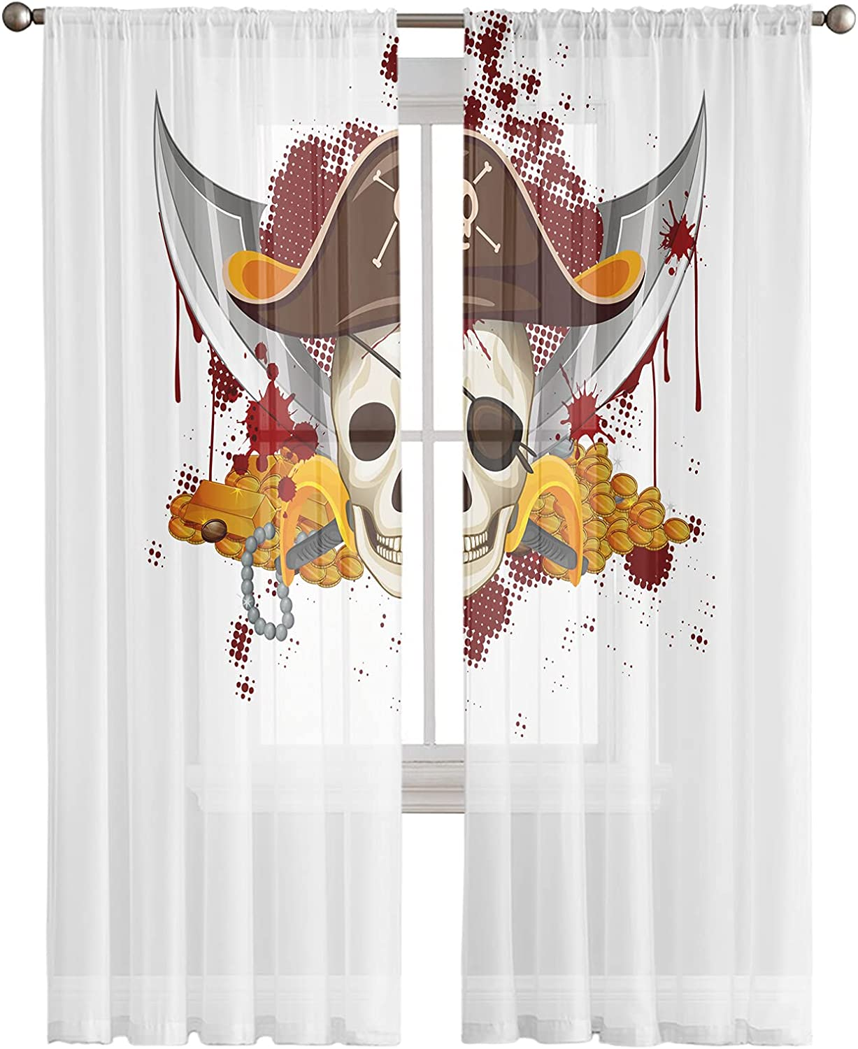 Sheer Curtains 96 Inches Long 2 Voile Sale Semi Pirate New arrival Panels