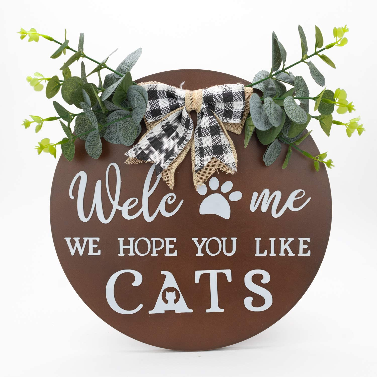 Jade Luxe Welcome Sign   Welcome Sign For Front Door   Welcome Signs For Front Porch   Front Porch Decor   Porch Decor   Door Wreaths For Front Door Outside   Welcome We Hope You Like Cats   US Brand