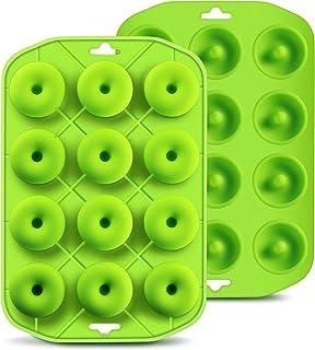Cupidove Silicone Mini Donut Maker Baking Pan Tray - 12 Holes - Pure Food Grade Premium Non-Stick Silicon - Green - Bake L...