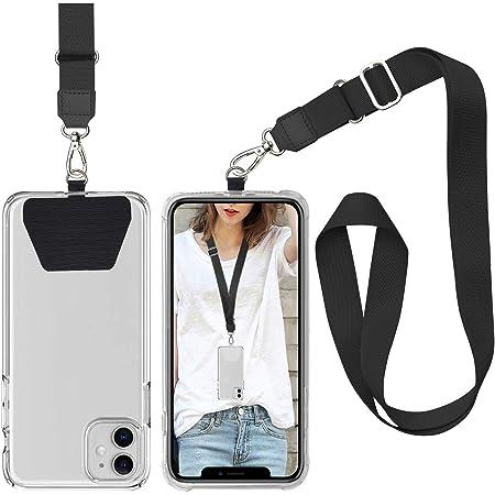 takyu Handykette, Universale Handy Halsband einstellbares Schlüsselband mit 2 aufklebenden Einlagen Schwarz