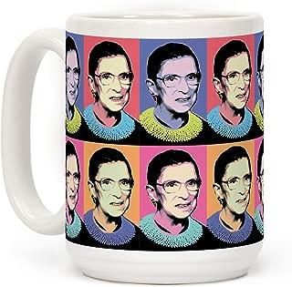 LookHUMAN RBG Pop Art White 15 Ounce Ceramic Coffee Mug