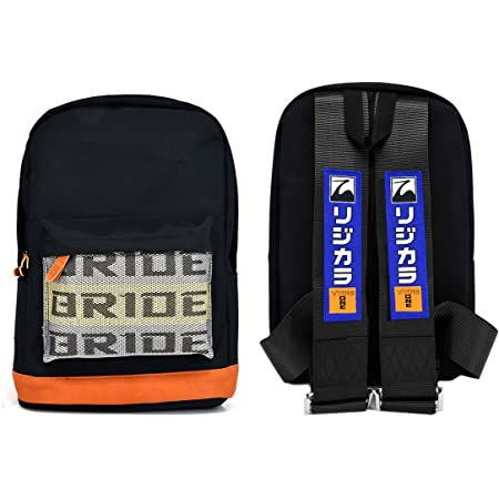 New Bride Racing Backpack with SPOON SPORTS Racing Harness Shoulder Seat Belts Strap Black
