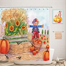 Vintage Thanksgiving Day Farm Shower Curtain for Bathroom Set, Retro Pumpkin Patch with Scarecrow Birds and Sunflowers, Polyester Fabric Autumn Shower Curtains, Bath Curtain Hooks Included, 70X70in