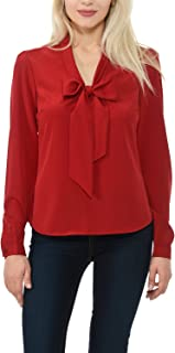 Women's Woven Long Sleeve Blouse with Front Bow - Made in USA