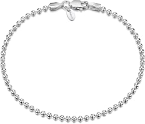 Amberta 925 Sterling Silver 2 mm Ball Bead Chain Bracelet