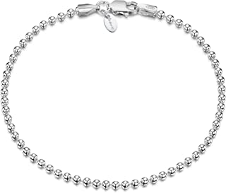 Amberta 925 Sterling Silver 2 mm Ball Chain Bracelet Size: 7 7.5 inch
