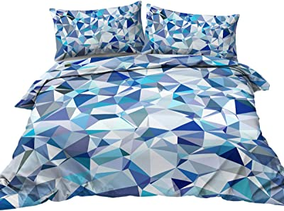 BlessLiving Modern Funky Bedding Blue Teal Triangle Polygon Mosaic Design Duvet Cover 3 Piece Abstract Geometric Bed Spread (Queen)