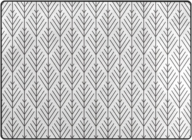 SUABO 80 x 58 inches Area Rug Non-Slip Floor Mat Herringbone Printed Doormats for Living Room Bedroom