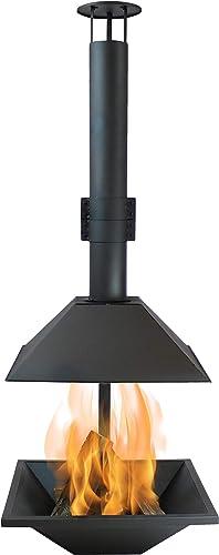 high quality Sunnydaze online sale online Black Steel Chiminea Fire Pit - Outdoor Wood-Burning Modern Backyard Fireplace - 80-Inch Tall online sale