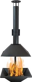 Sunnydaze Black Steel Chiminea Fire Pit - Outdoor Wood-Burning Modern Backyard Fireplace - 80-Inch Tall