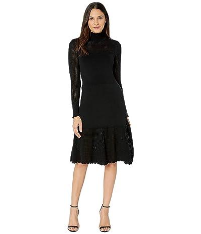 La Vie Rebecca Taylor Pointelle Turtleneck Dress (Black) Women