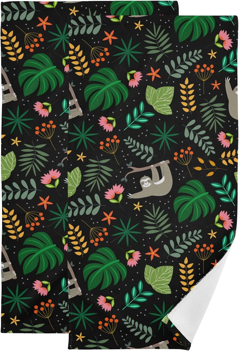 Floral Plants Sloth and Flowers in Max 46% OFF Black Set 2 Towel El Paso Mall Face of Han
