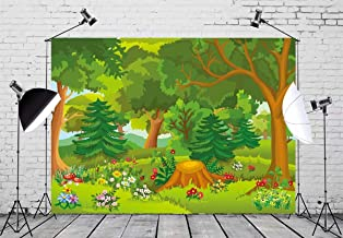 BELECO 7x5ft Cartoon Forest Backdrop Fairytale Forest with Flowers Mushroom Phtography Backdrop for Birthday Party Decoration Baby Shower Kids Game Photoshoot Photo Background Props