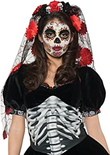 Women's Day of The Dead Headdress Costume - Rose Veil Mantilla
