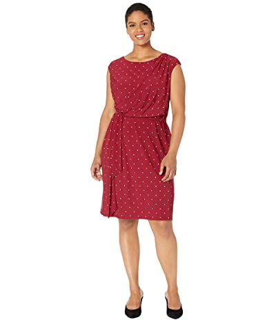 LAUREN Ralph Lauren Plus Size Vimaja Dress (Vibrant Garnet/Colonial Cream) Women