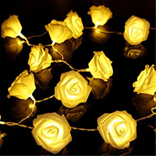 VIPMOON Flower Rose String Lights,2M/6.56ft 20LED String Lights Bright Warm Rose Flower Lamp Fairy Light,Battery Operated Light for Valentine's Wedding Gardens Party Christmas Decoration - Warm White