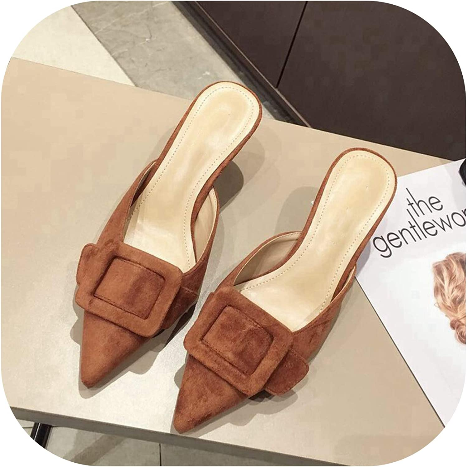 Sweetest-Thing Pointed Mule Slippers,Summer Slip On Slides Pointed Toe Slide Buckle