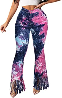 HINK Pantalones de Talla Grande, Pantalones Casuales Acampanados Micro de la Borla del teñido Anudado de la Moda de los Pa...