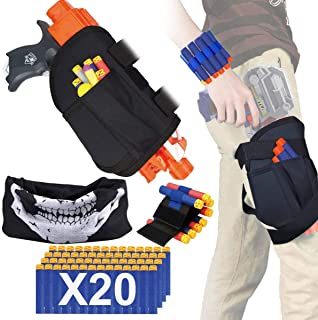 POKONBOY Kids Tactical Waist Bag Compatible with Nerf Holster Kit, Blaster Holster and Dart Wrister Kit with Bullets Fit for Nerf Guns