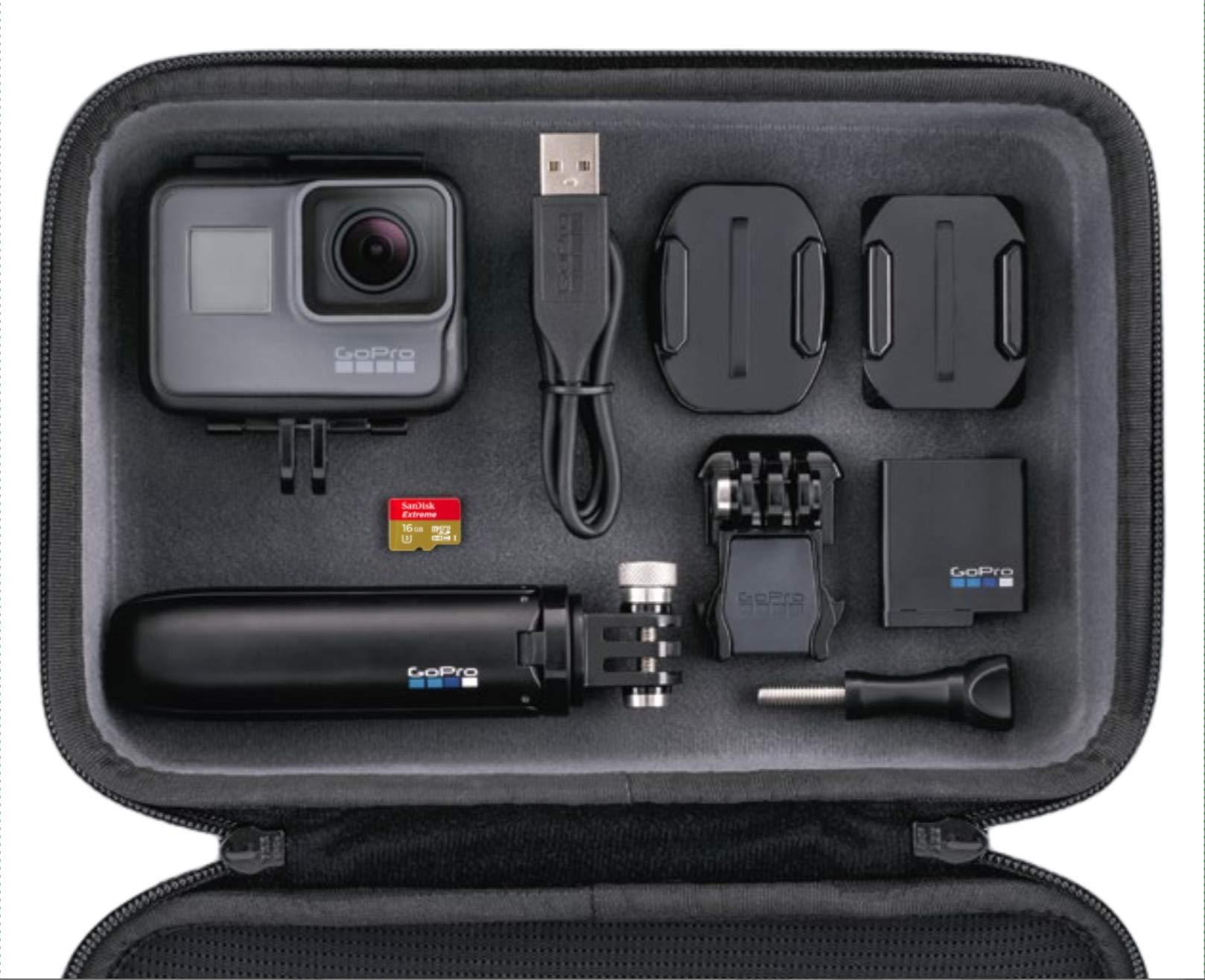Pack GoPro Hero5 Black - Cámara deportiva 12 MP (4K, 1080p, WIFI + Bluetooth, control por voz, pantalla táctil) + GoPro Shorty (vara de extensión y trípode) + tarjeta SD 16GB + batería + carcasa: Amazon.es: Electrónica
